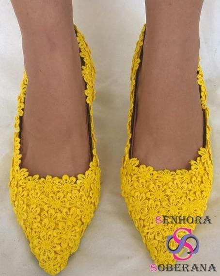 Salto Scarpin Amarelo Florado (madrinhas) (noivas)