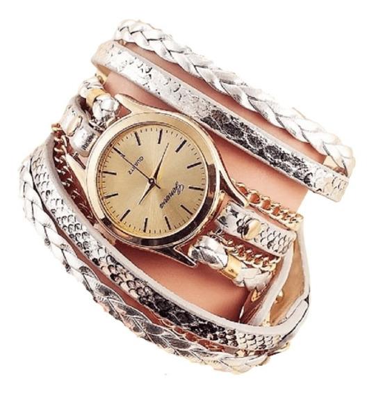 Relógios Geneva Analogicos Femininos Casual Pulseiras Prata
