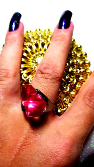 Anel Cromado Com Pedra Rosa Número 21Peça Única!