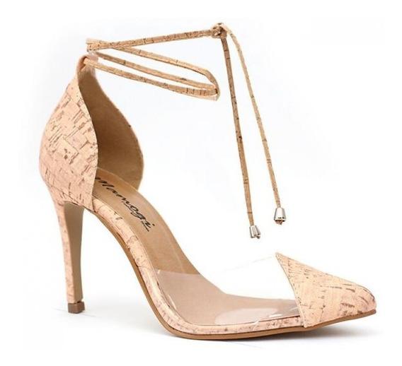 Scarpin Transparente Tira Amarração Salto Alto Sapato Verniz