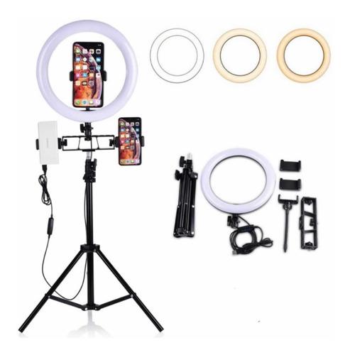 Aro De Luz Led Flash Selfie Anillo 26cm Tripoide Hasta 2mts