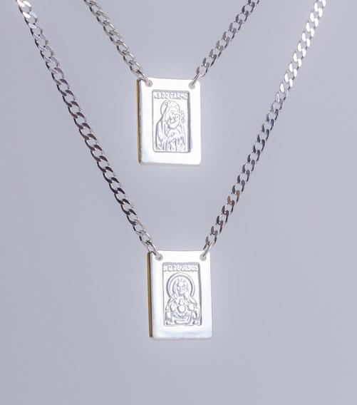 Escapulário De Prata 925-12 Gramas- N. S. Carmo- S. C. Jesus