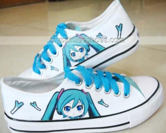 Zapatos Hatsune Miku 1 Marca Collec Diseño Hecho A Mano