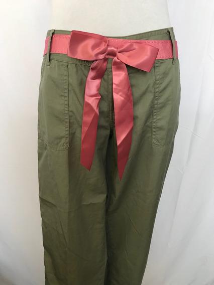Pantalón Hollister Verde Con Cinturon De Lazo Color Rosa