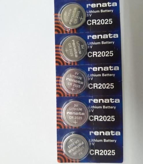 Pilha Bateria Cr2025 3v Renata Suíça Original - 5 Unidades