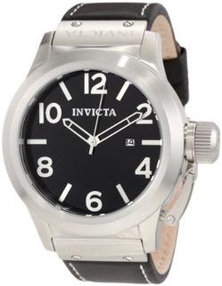 Invicta Mens 1135 Corduba Black Dial Black Leather Watch: In
