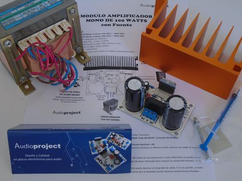 Modulo Amplificador 100 Watts Con Fuente Trafo Y Disipador