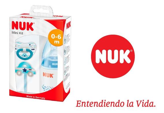 Set Recien Nacido Nuk ® Mamadera Cadena Chupete Varon Blue
