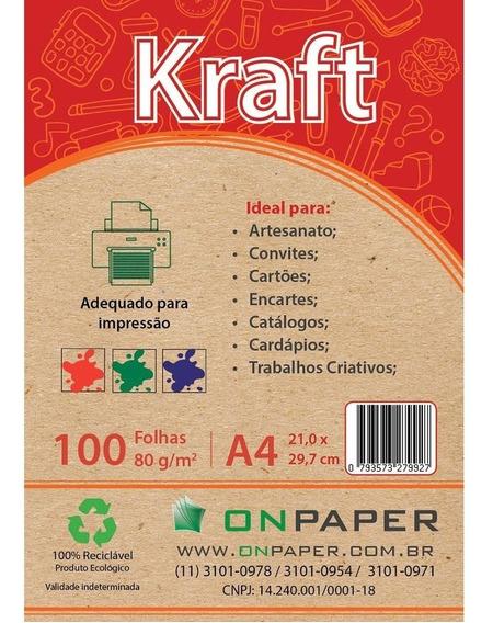 Papel Kraft A4 80g Alto Brilho 423,5 On Paper 100 Folhas