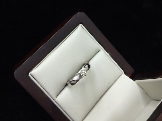 Anillo De Oro Blanco 14k Con Diamante Solitario/compromiso