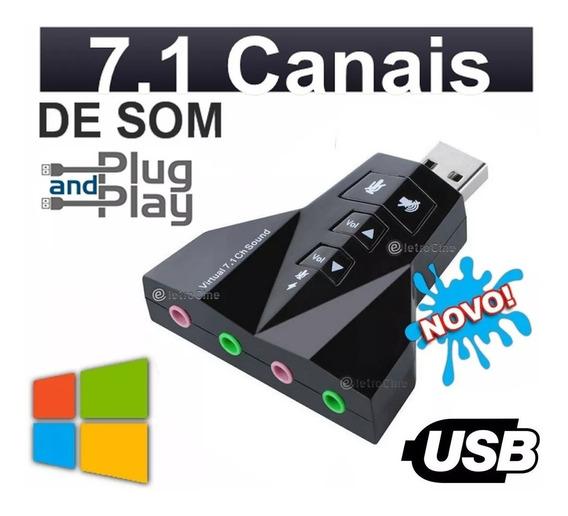 Super Placa De Som Usb Externa De Audio 7.1 Windows 7 8 E 10