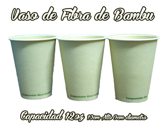 Vaso De Fibra De Bambu 12oz Para Cafe O Bebidas 250 Piezas