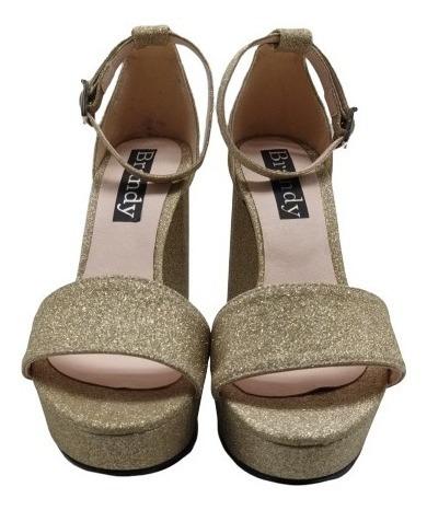 Zapatos Mujer Sandalias Brillo Plataforma Fiesta 2019 2695pm