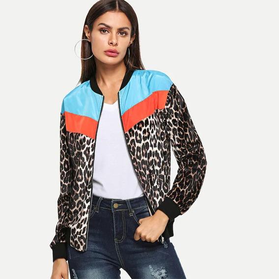 Moda Mujeres Bombardeo Chaqueta Leopardo Impresión Color Bl
