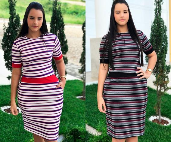 Vestido Canelado Feminino Midi Moda Evangélica Promoção 2 Pç