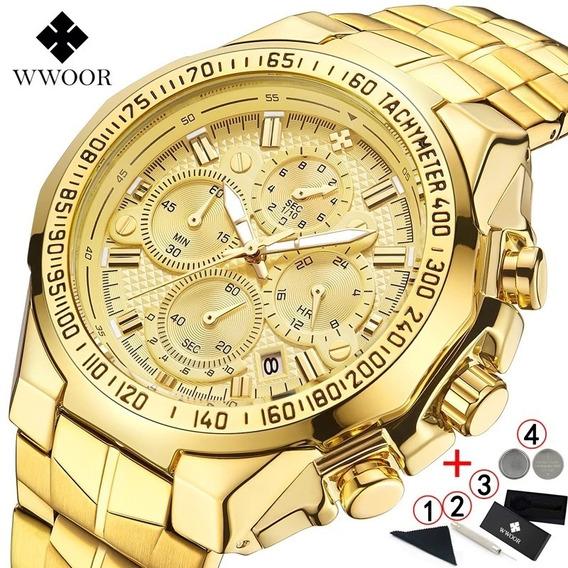 Relógio Top Wwoor Dourado 100% Funcional A Prova D Água 50m
