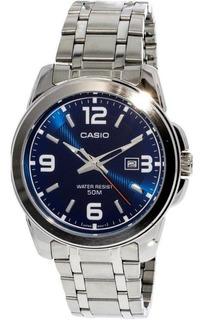 Reloj Casio Hombre,fondo Azul,malla Extra De Cuero,wr50m.