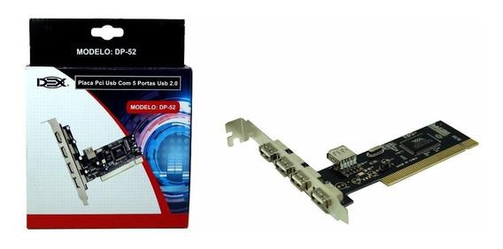 Placa Pci Usb Com 5 Portas Usb 2.0 Dex Modelo: Dp-52