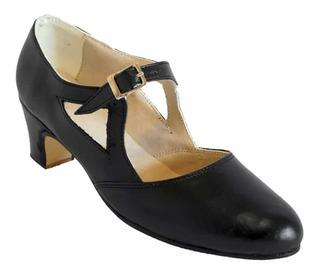 Zapatos Folklore, Español, Jazz , Salsa, Danza - Cuero Negro