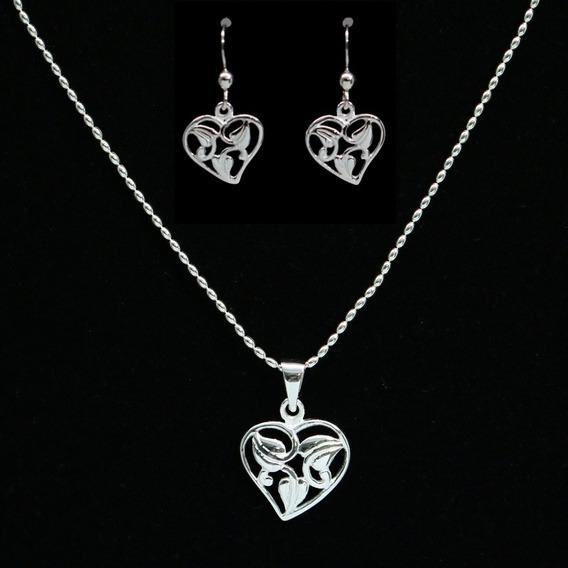Colar Feminino E Brincos Feminino Coração Delicado Prata 925