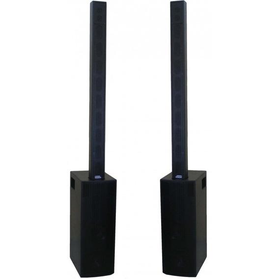 Kit Sonorização Pa Ativo Array 1500w 2 Sub 2 Colunas Igreja Subwoofer E Coluna Bi-amplificado Processado 4 Caixas Som