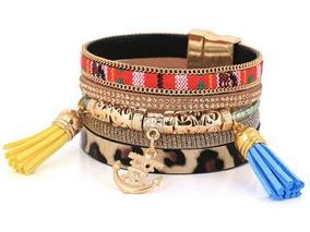 Bracelete Franjas Âncora Magnético Étnico