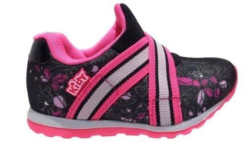 Tenis Infantil Menina Kidy Free Preto Rosa Pink 0306