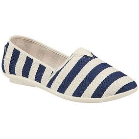 Zapatos Casual Flats Tovaco Dama Textil Azul Dtt 98615