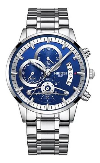 Relógio Masculino Nibosi 100% Funcional Alta Qualidade Prata