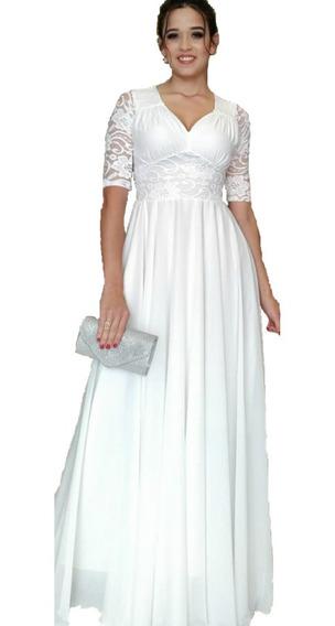 Vestido Branco De Noiva Longo Casamento Civil Festa Renda Forro Elastano Malha Crepe Luxo Gestantes