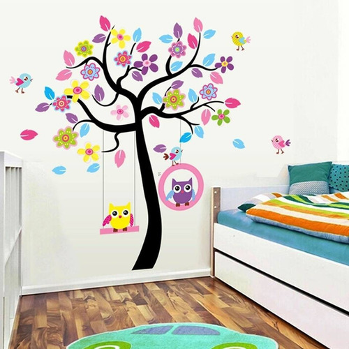 Vinilo Decor Sticker Arte Niño Pared - Arbol Buhos Color