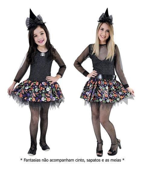 Vestido Fantasia Bruxinha Tal Mãe Tal Filha Halloween Chapéu