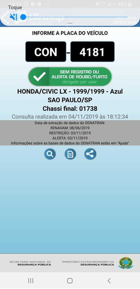 Honda/civic 1.6- Lx-1999/1999-azul