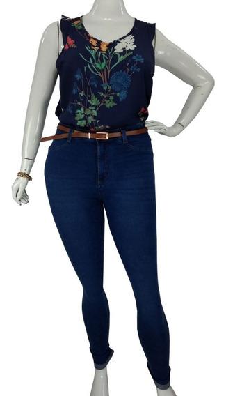 Calça Jeans Super Skinny Plus Size Feminina Azul Cambos