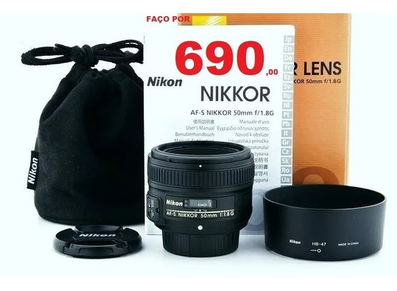 Lente Nikon Nikkor Af-s 50mm 1.8 G Impecável + Parasol + Bag + Tampas .e Caixa