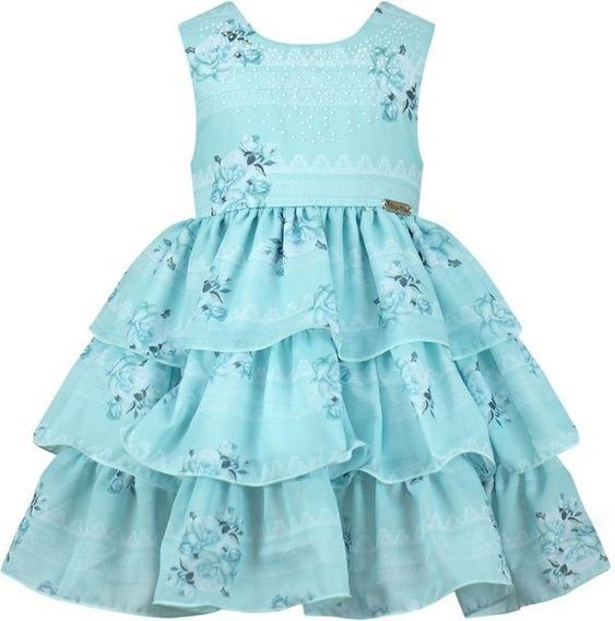 Vestido Festa Infantil Babados Estampado Floral- 014307