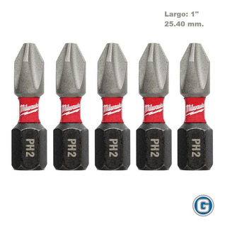 5 Puntas Ph2 X 25mm Alto Impacto Milwaukee 48-32-4601 H 1/4