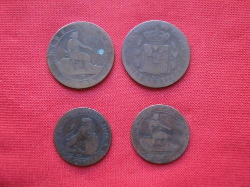 Imagen 1 de 2 de Lote De 4 Bronces Españoles 1870 - 78