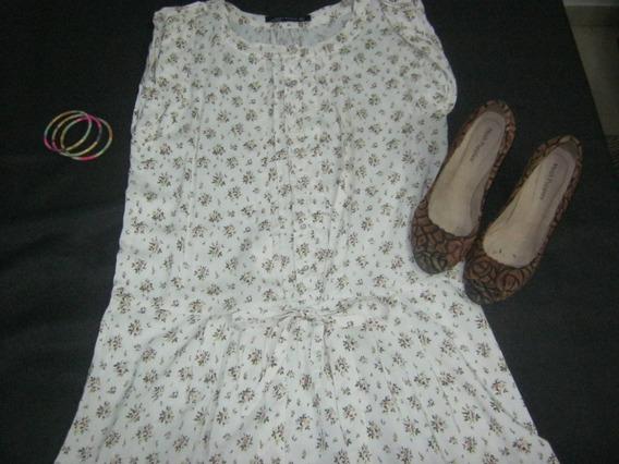Vestido Blanco Floriado Zara Costo 5 Verdes