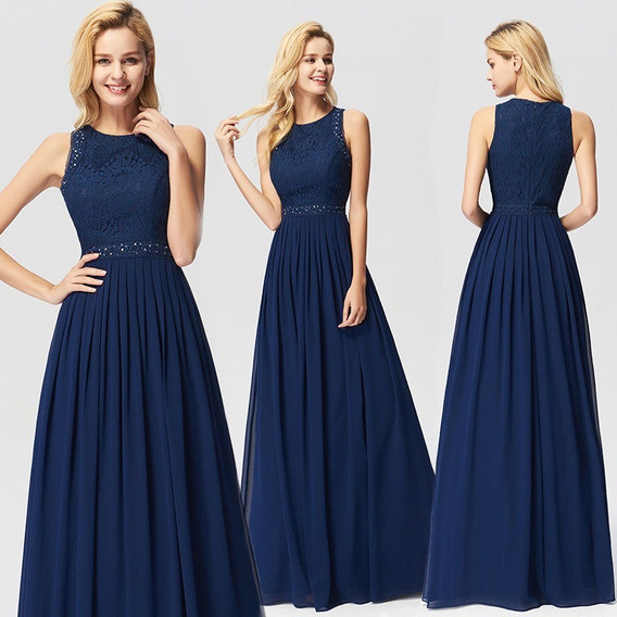 Fantastico Vestido Fiesta Largo Azul Gasa Encaje Importado