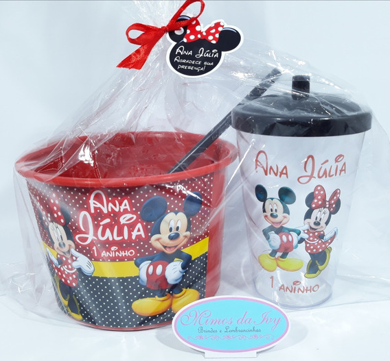 Kit Copo Twister + Balde De Pipoca Mickey E Minnie