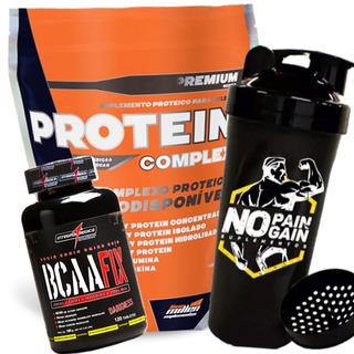 Protein Complex 1,8kg + Bcaa Fix 120 Tab + Coqueteleira
