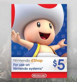 Cartão Nintendo 3ds Wii U Swich Gift Card Presente 5 Dólares
