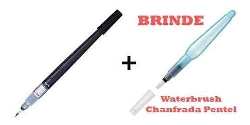 Imagem 1 de 1 de Caneta Pincel Color Brush Preto Gfl101x Pentel + Brinde