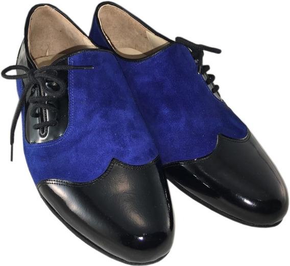 Zapatos De Baile Tango Salsa Bachata Rock Gamuza Azul Hombre