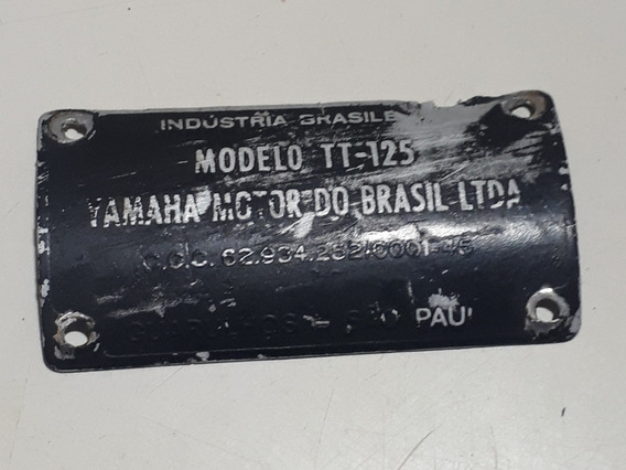 Plaquinha Chapinha Do Quadro Da Yamaha Tt 125 Antiga