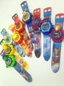 Kit 5 Relógios Infantil Desenhos Projetor De Luz 24 Imagens