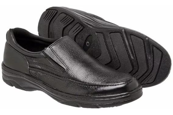 Sapato Linha Confor Sapatenis Masculino 100% Couro Elástico
