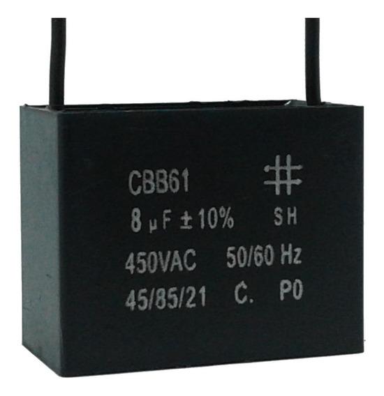 5 Unidades Capacitor Partida 8uf X 450vac Fio Cbb61 40/85/21