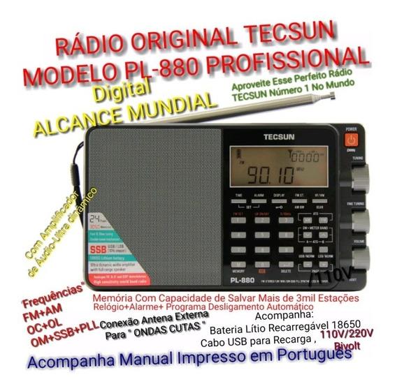 Rádio Original Profissional Tecsun Pl-880 Multi Bandas